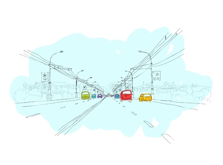 outdoor lights: Sketch of  traffic road in city for your design