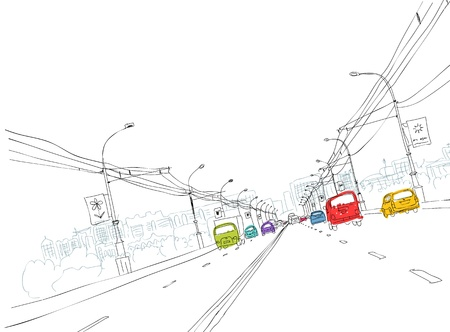 city lights: Sketch of  traffic road in city for your design