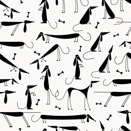 bones of the foot: Funny black dogs, seamless background for your design