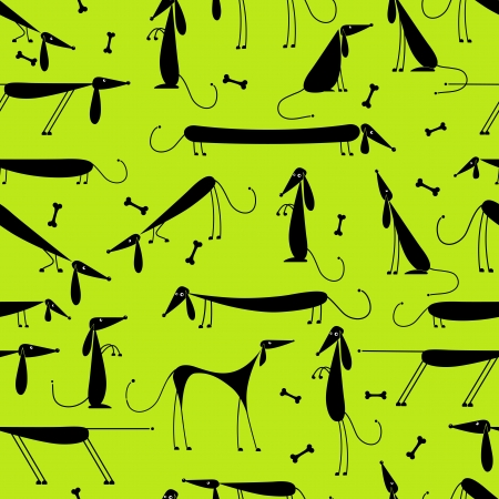bones of the foot: Funny dogs, seamless background for your design