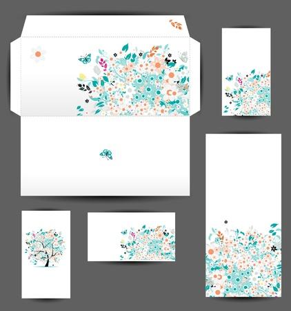 environnement entreprise: Cartes enveloppe et d'affaires pour la conception de votre Illustration