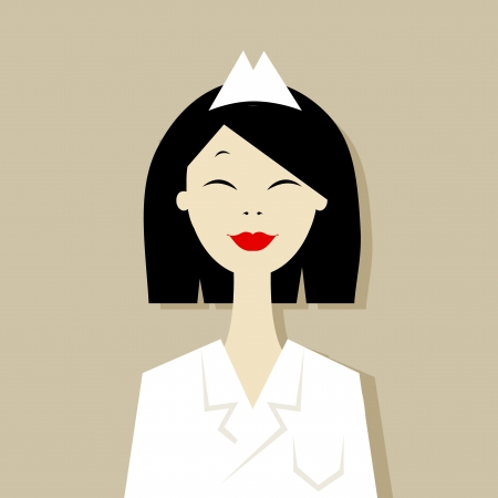 asian business woman:  cartoon of asian doctor