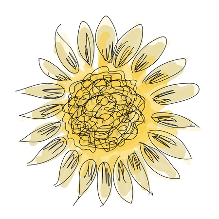 sunflower isolated: Sketch of sunflower for your design