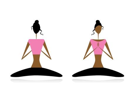position d amour: Lotus pose. Les femmes pratiquant le yoga Illustration