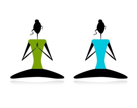 practicing: Lotus pose. Women practicing yoga Illustration