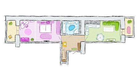 Sketch of design interior apartment, hand drawn vector illustration Stock Vector - 14417194