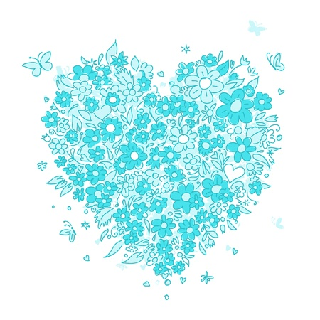 painted image: Sketch of floral heart shape for your design