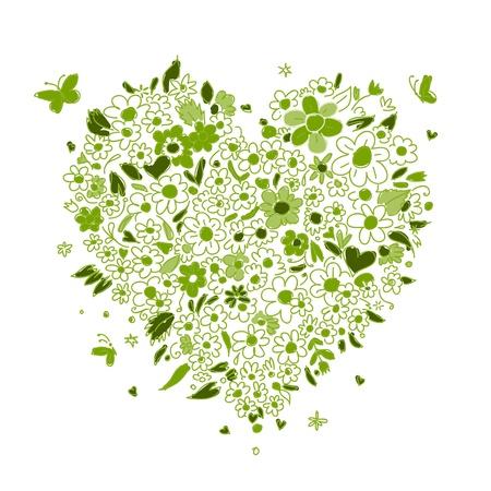 디자인을위한 꽃 심장 모양의 스케치