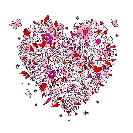 hearts and roses: Sketch of floral heart shape for your design