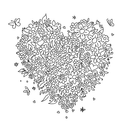 Sketch of floral heart shape for your design Stock Vector - 14417190