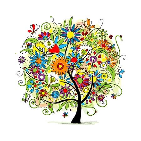 un arbre: Croquis de l'arbre floral pour la conception de votre
