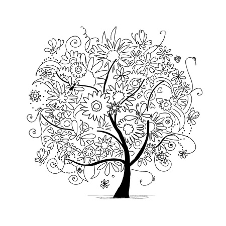Sketch of floral tree for your design Vector