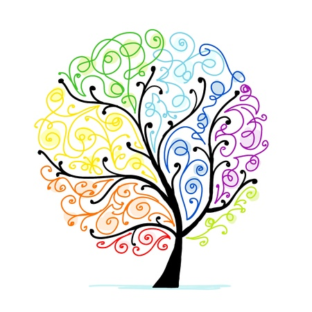 Art tree for your design, rainbow Vector