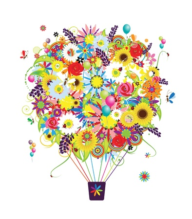 hot spring: Summer season concept, air balloon with flowers for your design