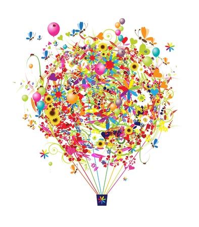 palloncino cuore: Buone vacanze, mongolfiera divertente per il vostro disegno
