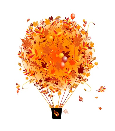 air animals: Autumn season concept, air balloon with leaf for your design