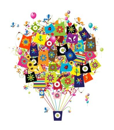 ballon dirigeable: Shopping concept, ballon � air avec des sacs pour votre design