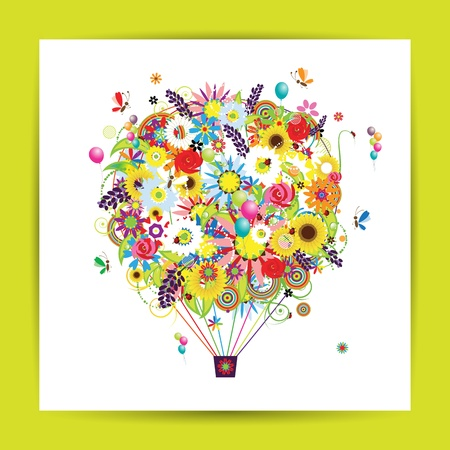 Gift card design with floral air balloon Vector