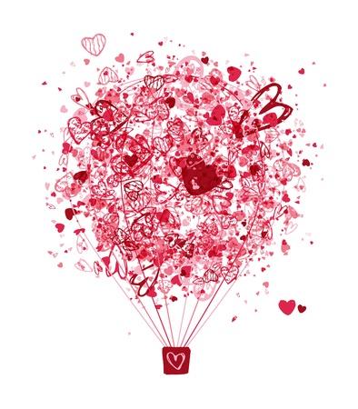air travel: Air concetto di amore, palloncino con cuori per il vostro disegno Vettoriali