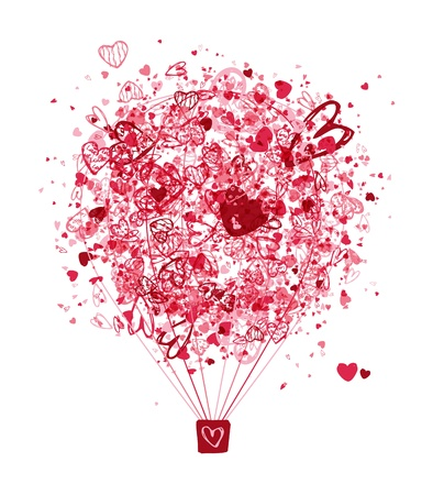 red balloons: Air love concept, balloon with hearts for your design