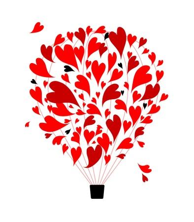 palloncino cuore: Air concetto di amore, palloncino con cuori per il vostro disegno Vettoriali