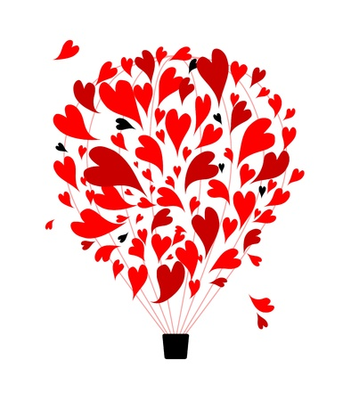 Air love concept, balloon with hearts for your design Vector