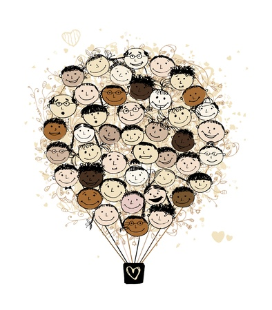 Big family concept, air balloon with smiling faces for your design Vector