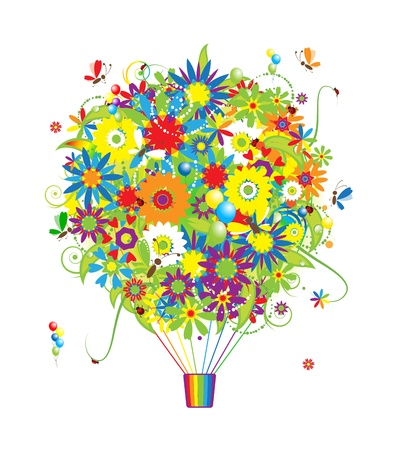 air animals: Floral gift, air balloon with flowers for your design Illustration