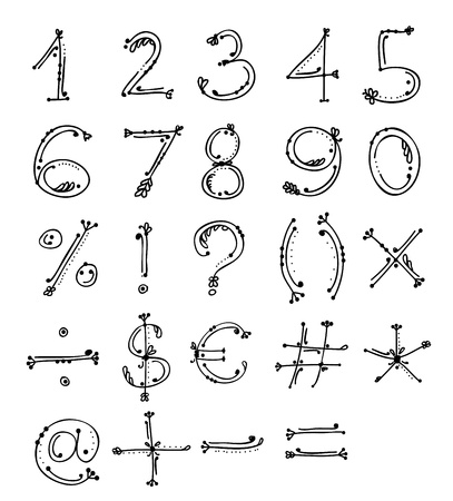 Sketch of floral numbers and signs for your design Vector