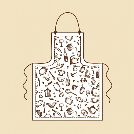 Apron with kitchen utensils sketch for your design Vector