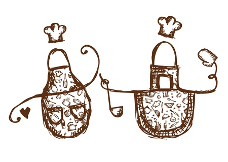 Funny aprons with kitchen utensils sketch for your design Vector