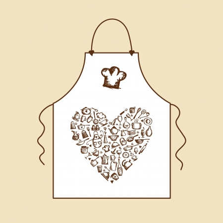 kitchen illustration: I love cooking  Apron with kitchen utensils sketch for your design