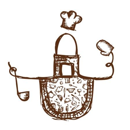 Tablier drôle avec des ustensiles de cuisine croquis pour votre conception