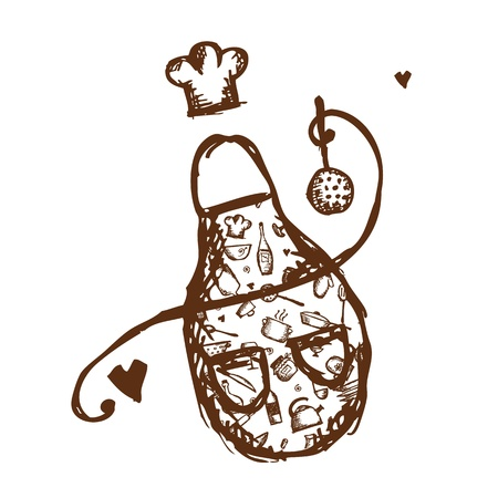 Funny apron with kitchen utensils sketch for your design Stock Vector - 14946610