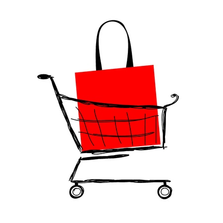 push cart: Red bag into shopping cart for your design