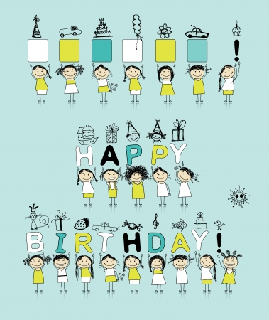 happy birthday cartoon: Birthday card with funny girls for your design
