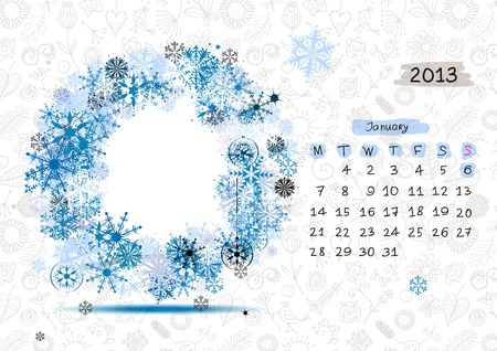 Vector calendar 2013, january  Frame with place for your text or photo Stock Vector - 14946770