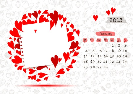 Vector calendar 2013, february  Frame with place for your text or photo Vector