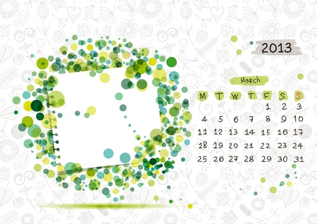 Vector calendar 2013, march  Frame with place for your text or photo Stock Vector - 14946760