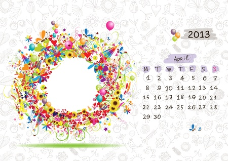 Vector calendar 2013, april. Frame with place for your text or photo Stock Vector - 14946769