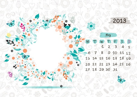 Vector calendar 2013, may. Frame with place for your text or photo Stock Vector - 14946763