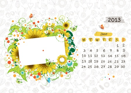 Vector calendar 2013, june. Frame with place for your text or photo Vector