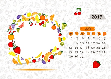 Vector calendar 2013, july. Frame with place for your text or photo Vector