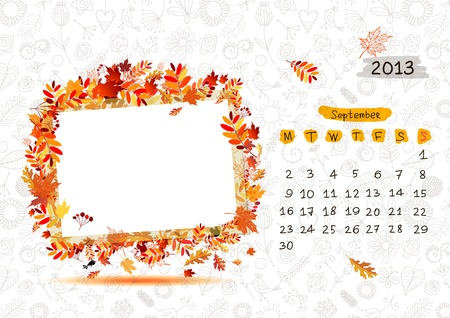 calendario septiembre: Vector calendario 2013, septiembre. Cap�tulo con el lugar para su texto o foto