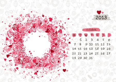 Vector calendar 2013, october. Frame with place for your text or photo Vector