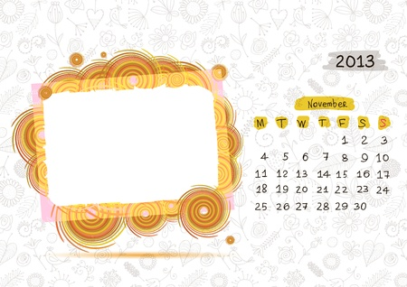 Vector calendar 2013, november. Frame with place for your text or photo Vector