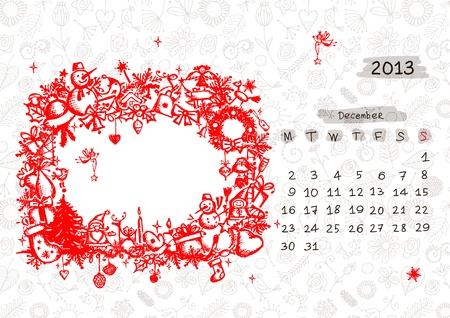 Vector calendar 2013, december. Frame with place for your text or photo Stock Vector - 14946762