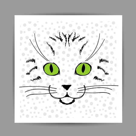 Cute cat face sketch, postcard for your design Vector