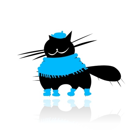 Funny black cat in fashion clothes for your design Stock Vector - 14946640