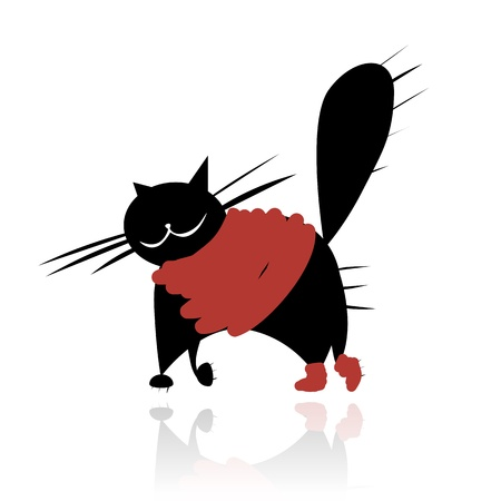 anger abstract: Funny black cat in fashion clothes for your design